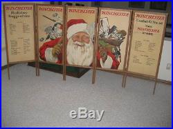 Winchester Store 5 Panel Window Sign Display Santa Claus Ice Skate Christmas